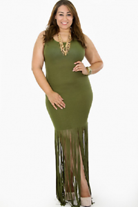 Details about Plus Size Shredded Bodycon Fringe Sleeveless Tank Top Olive  Green Dress 1X 2X 3X