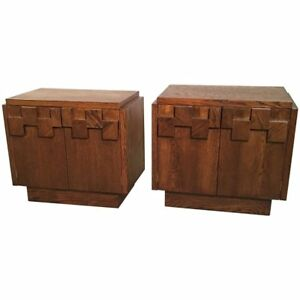 Superior Image Is Loading Mid Century Brutalist Mosaic Walnut End Table Nightstands