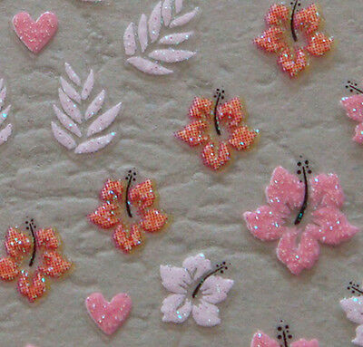 Nail Art 3D Sticker Glitter Decal Summer Pink Red and White Hibiscus Flowers