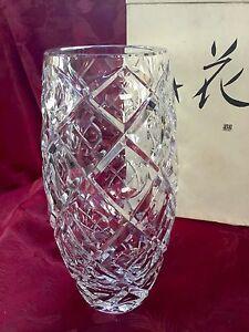 New Nib Flawless Exceptional Hoya Japan Art Glass Crystal Vase Dimple Design Ebay