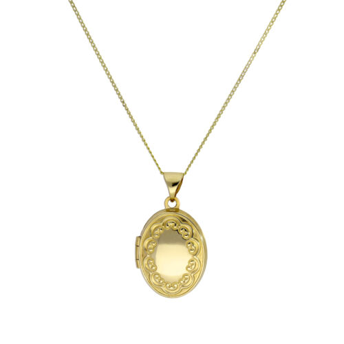 9ct Gold Oval Locket on Chain with Floral Design on Chain 16-18 Inches Flowers