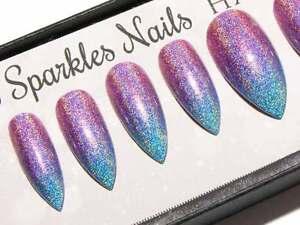 Pink Blue Holographic Press On Gel Acrylic Fake False Faux Glue On