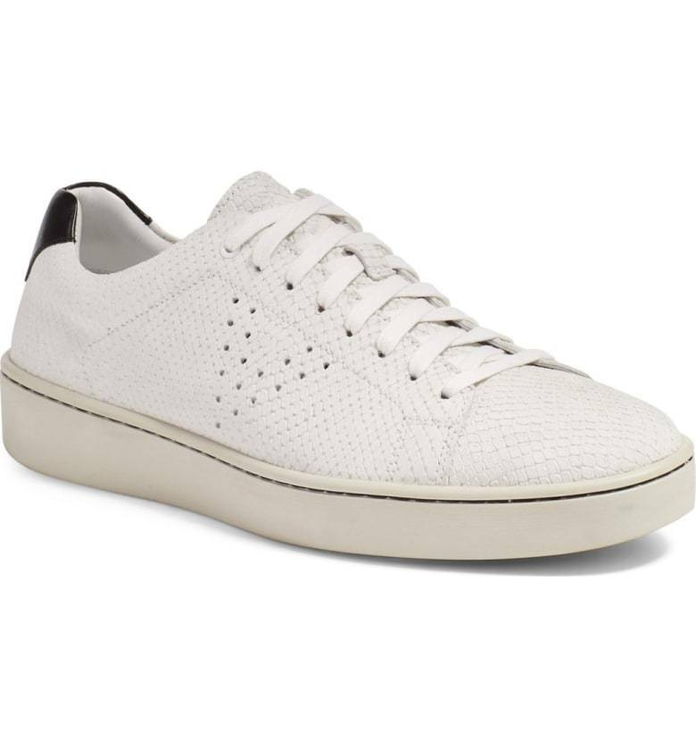 NIB Vince Men's Simon' Perforated Sneaker Leather 8740234 White 12 M