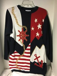 Alfred-Dunner-Unique-Nautical-Sweater-Sz-Small-USA