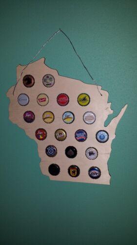 Wisconsin state BEER CAP wood sign Bottle cap display USA