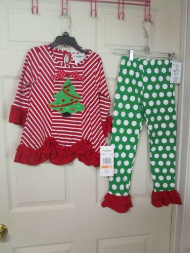 Size 6 X NICE! NWT Girl/'s Rare Editions 2 PC Christmas Themed Pants and Top