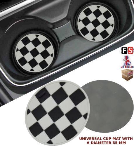 UNIVERSAL CAR CUP MAT CUP COASTER CHECKERED 65 MM DIAMETER–Fiat 1