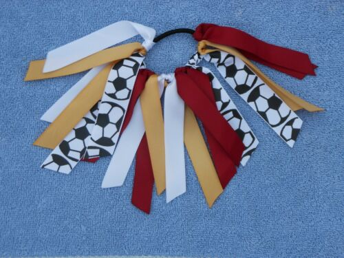 Custom Team Colors Ribbon Ponytail Holder Choose Your Favorite Sport and Colors