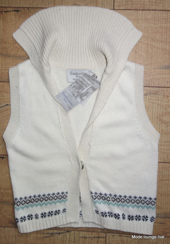 NOA algodón algodón algodón Angora CHAQUETA DE PUNTO M 38 Salt Crema Beige Chaleco 01b909