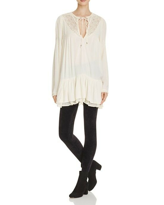 NWT FREE PEOPLE One Night Victorian Lace Inset Inset Inset Dress in Ivory  128 - M c35cad