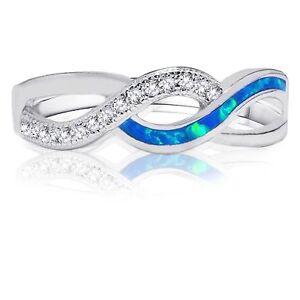 FleißIg Blau Feuer Opal Infinity Keltischer Ring Mikro Besatz Original Sterlingsilber Uhren & Schmuck