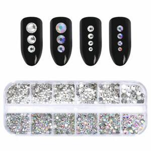 AB-Color-Clear-Nail-Art-Rhinestone-Flat-Bottom-Multi-size-Manicure-3D-Decor-DIY