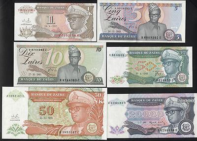 unc - Set Of 6 Notes: 1-20000 Zaires Likuta 1985-1993 Zaire Fancy Colours zaïre