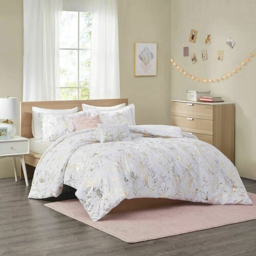 Luxury White /& Gold Metallic Floral Comforter Set AND Decorative Pillows