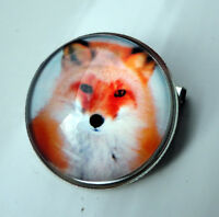 ZP425 Unusual Domed Fox Pin Badge Brooch Cabochon