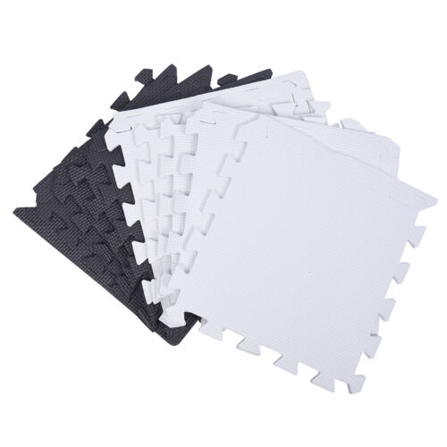 10X Eva Foam Puzzle Exercise Mat Interlocking Floor Tiles White and Black PK