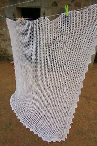 Beautiful-Antique-French-Hand-Crafted-Cotton-Crochet-Curtain-Throw-6ft-7-x-5ft