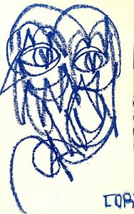 BLUE IMPRESSIONISM PORTRAIT PASTEL ORIGINAL DRAWING WALL ART CONTEMPORARY DECOR