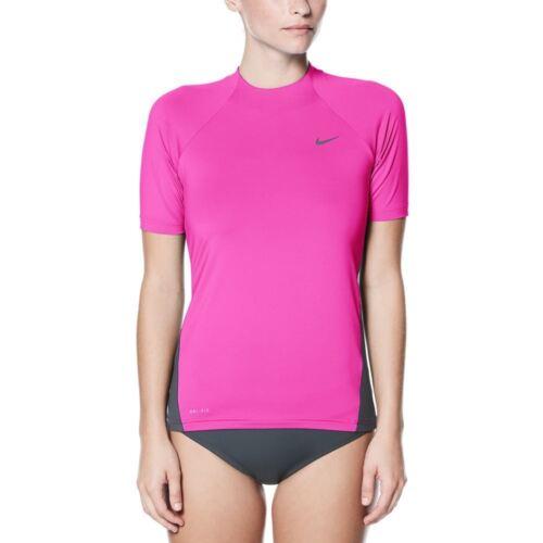 hydroguards-women's Nike Schwimmen Massiv Kurzärmelig Hydroguard-Pink Nike Bekleidung