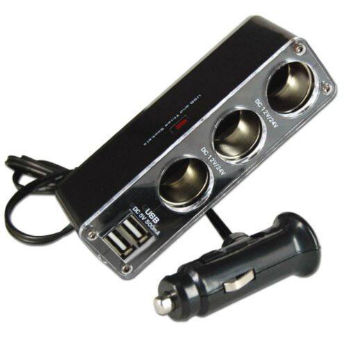 12V 3.1A TRIPLE CAR POWER ADAPTER MULTI SOCKET WITH TWIN USB DUAL PORTS GENUINE