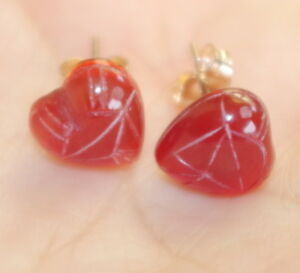 ANTIQUE 14K  7.5 CT ANGEL SKIN CORAL CARVED BALL EARRINGS JACKETS W BALL STUDS