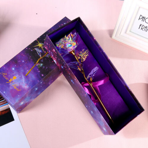 Valentine/'s Day 24K Galaxy Rose Romantic Crystal Flower Lovers Gifts w// Box