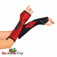 Adults Womens Official DC Comics Harley Quinn Gloves Fancy Dress Accessory