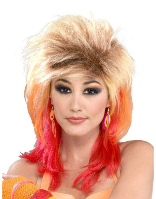 Sindee Wig 80/'s Rock Pop Star Rainbow Dress Up Halloween Adult Costume Accessory