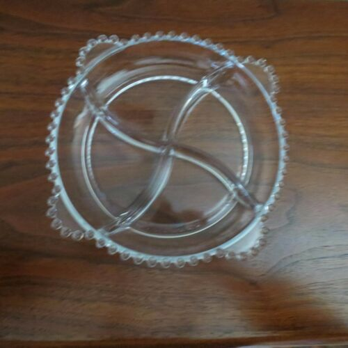 Imperial Glass Candlewick Clear 4 Handled Quartered Relish Tray