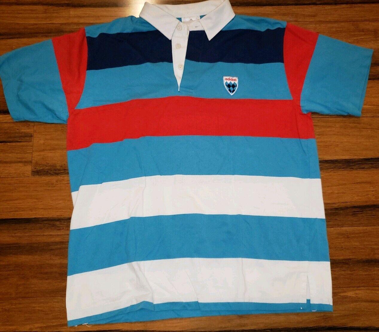 Vtg Adidas 1980s Futbol Soccer Rugby Polo Jersey stripped Blue shirt shield logo