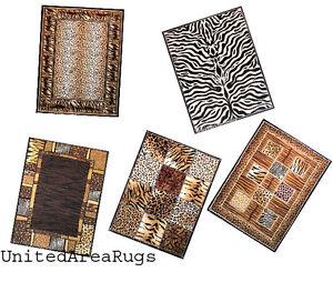 5x7 Area Rug Mix Wild Animal Skin Design Tiger Leopard