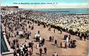 1910-View-of-the-Boardwalk-and-Beach-Coney-Island-New-York-City-Postcard