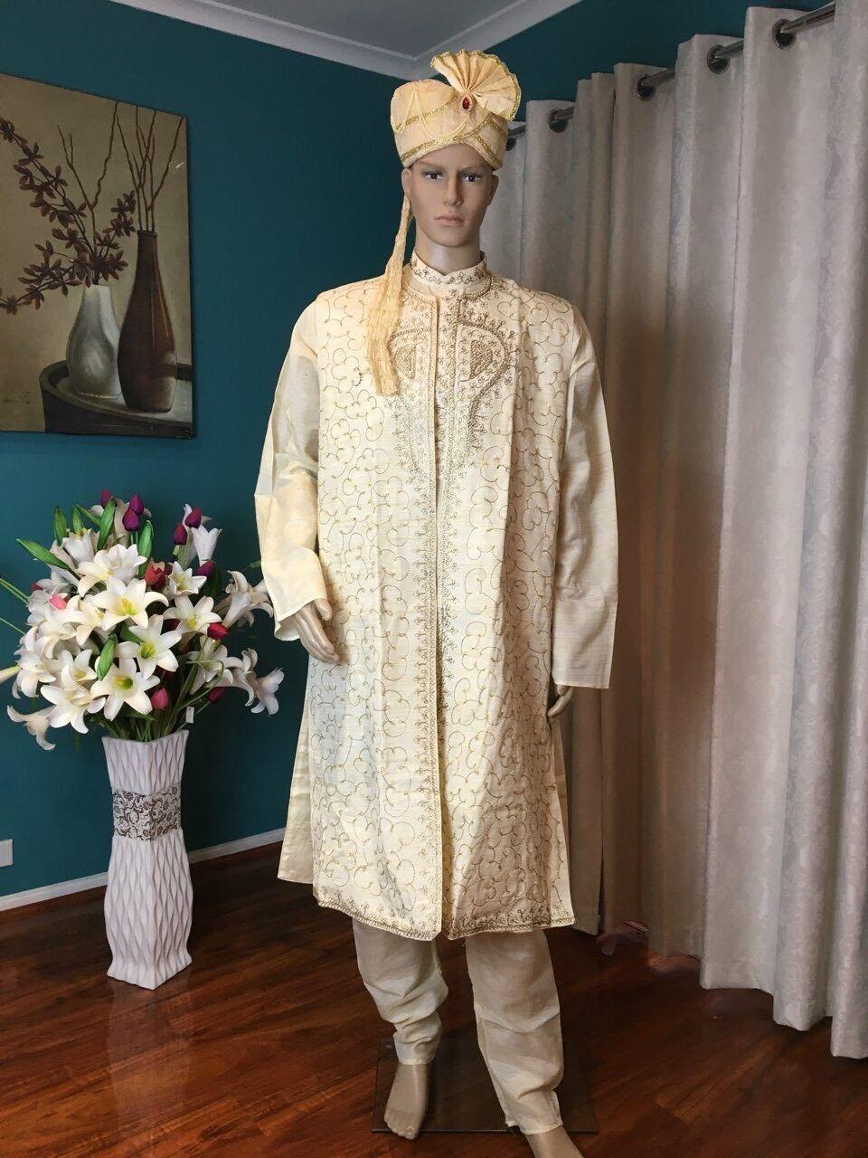 """50"""" 4XXXXL Sherwani Suit Indian Bollywood  Herren Kurtha Beige Cream Kurta  HL6"""