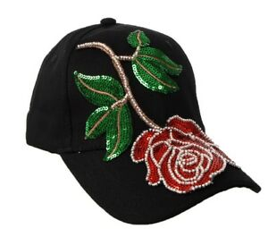 WOMEN'S NEW BEADS SEQUINS EMBROIDERY FLORAL YANKEE BASEBALL CAP