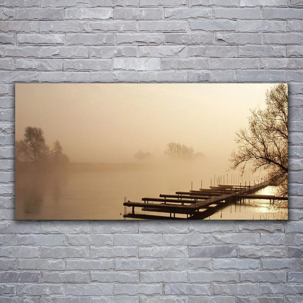 Wandbilder Glasbilder Druck auf Glas 120x60 Brücke Wasser Nebel Landschaft