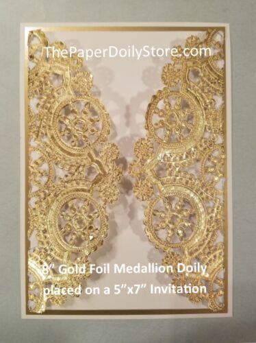 """Feuille d/'Or Médaillon Papier Doilies4/"""" 5/"""" 6/"""" 8/"""" 10/"""" 12/"""" GOLD Chargeur napperon **"""