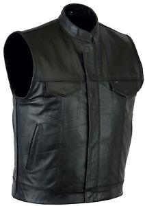 Mens Sons of Anarchy Genuine real Leather Waistcoat Motorcycle Biker Vest UK