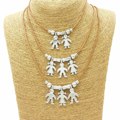 Silver Kids Boy Girl Family Charms Pendant Necklace Chain Jewelry Jian MA
