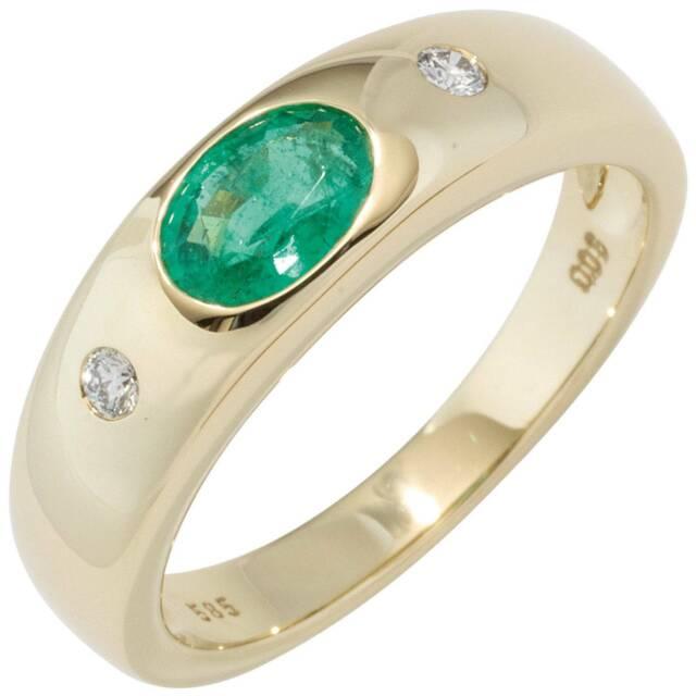 JOBO Damen Ring 58mm 585 Gold Gelbgold 1 Smaragd grün 2 Diamanten Brillanten Gol