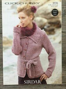 "8074 Sirdar Knitting Pattern: Ladies Cardigan Super Chunky 32-54/"""