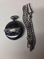 Triumph TR6 ref271 Pewter Effect Car on a polished Black Case Pocket Watch