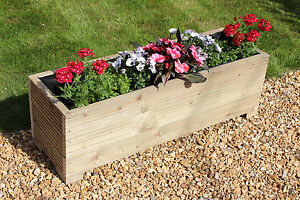 1 METRE LARGE WOODEN GARDEN TROUGH PLANTER MADE IN DECKING BOARDS   on timber planters, columns planters, concrete planters, trellis planters, furniture planters, brick planters, landscaping planters, fence planters, pergola planters, decorating planters,