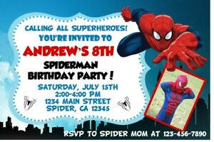 Image Is Loading Spiderman Birthday Party Invitations Custom Photo Invites