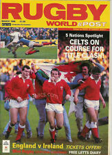 RUGBY WORLD MAGAZINE MARCH 1988 - PERFECT GIFT FOR A FAN BORN IN THIS MONTH
