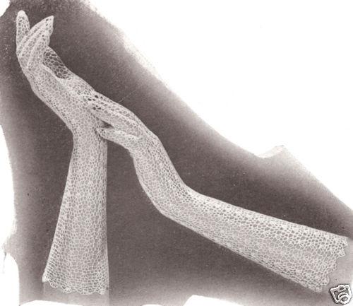 Vintage Crochet PATTERN to make Long Fishnet Lace Mesh Gloves Deauville