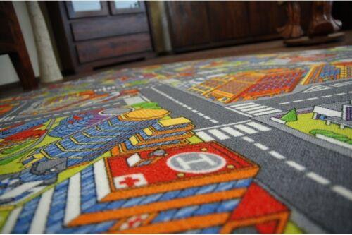 alle Größen Multicolor Spielteppich grau KINDERTEPPICH BIG CITY Straße Stadt