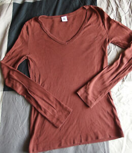 T-shirt-manches-longues-marron-Col-V-Petit-Bateau-Taille-14-ans-S