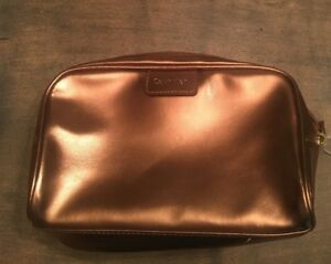 Calvin-Klein-Women-s-Zippered-Cosmetic-Make-Up-Bag-NWT-Copper-Gold