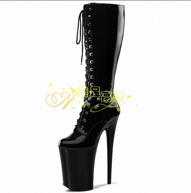 20cm Tacón Alto Mujer Cosplay Con Cordones Plataforma Plataforma Cordones botas Zapatos Sexy de Cuero Media Caña 5bd757