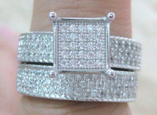 925 STERLING SILVER Microsetting cz SQUARE BRIDAL SET RINGS big size GIRL WOMEN